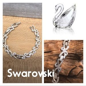 Swarovski Plated rhodium and clear diamond crystal